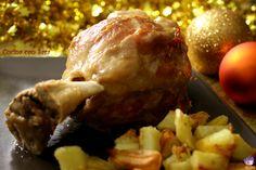 Stinco di prosciutto con patate al forno