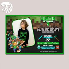 Minecraft invitation chalkboard flags minecraft invite minecraft birthday party card digital invitation with photo kid birthday party solutioingenieria