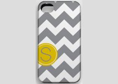 From etsy: Chevron with Techron Personalized Monogrammed Case - Yellow n Gray - Cell Phone Cases for iPhone
