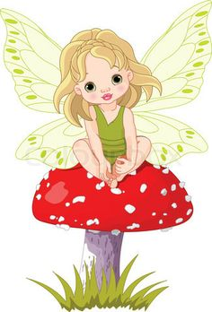Vector of 'Baby fairy elf sitting on mushroom' on Colourbox