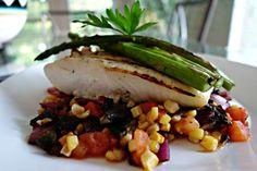 Grilled Halibut with Grilled Vegetable Salsa