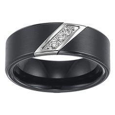Triton 8mm Black Tungsten Carbide 3 Diamonds Ring....interesting idea for a mens wedding band