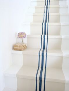 french linen stripe. Great idea for back stairs