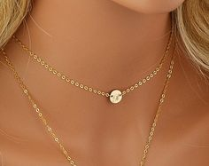 Check out Chain Choker Necklace, Initial Choker Necklace, Initial Disc, Personalized Necklace Bar, Layered Necklace Set, Gold, Silver, Rose on malizbijoux