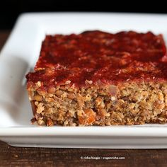Vegan Lentil Quinoa Loaf - Vegan Richa // This Lentil Quinoa Loaf with a Spicy Ketchup glaze is nut-free, vegan and can be made gluten-free. Perfect addition to a holiday meal.