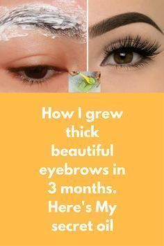 How I grew thick beautiful eyebrows in 3 months. Here's My secret oil Today i am going to share a very simple yet super effective natural remedy to grow thick beautiful eyebrows at home. If you have thin eyebrows and wish to get beautiful thick eyebrows w Thin Eyebrows, How To Grow Eyebrows, Eye Brows, Growing Eyebrows, Thicker Eyelashes, Regrow Eyebrows, Arched Eyebrows, Thick Lashes, Natural Eyebrows