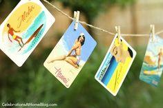 Un original decorado para una fiesta tropical, hecho con postales retro / An original summer party decoration, made with retro postcards