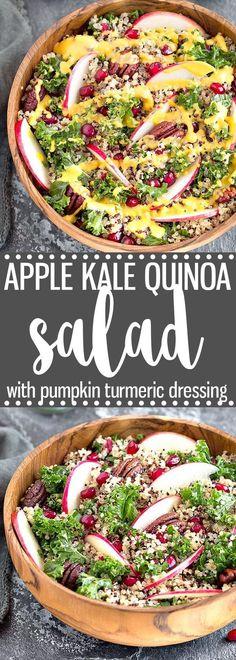 Apple Kale Quinoa Salad with Pumpkin Turmeric Dressing - An easy, healthy, and nutritious fall/autumn salad. via @easyasapplepie