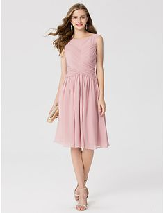 A-Line Princess Bateau Neck Knee Length Chiffon Cocktail Party Dress with Ruching Criss Cross by TS Couture®