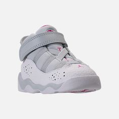 Three Quarter view of Kids' Toddler Jordan 6 Rings Basketball Shoes in Pure Platinum/Fuchsia Blast/White Baby Girl Shoes Nike, Cute Baby Shoes, Kid Shoes, Girls Shoes, Twin Outfits, Newborn Girl Outfits, Kids Outfits Girls, Funny Baby Clothes, Babies Clothes