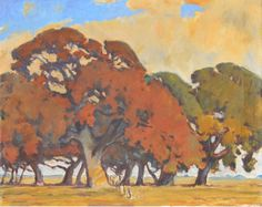 Arthur Earl Haddock - Oak Trees Near Stockton | From a unique collection of landscape paintings at http://www.1stdibs.com/art/paintings/landscape-paintings/