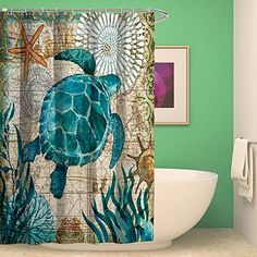 Shower Curtain Bathroom Waterproof Sea Turtle With 12 Hoo...