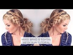 Mixed Fishtail & Dutch Braid Messy Bun - Home Messy Bun With Braid, Double Braid, Braid Ponytail, Messy Buns, Braided Updo, Bridesmaid Hair Tutorial, Different Braids, Long Braids, Messy Hairstyles