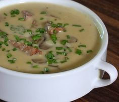 Delicious Homemade Mushroom Soup With Andouille and Cheese: Creamy Mushroom Soup With Cheddar and Andouille Sausage Homemade Mushroom Soup, Creamy Mushroom Soup, I Love Food, Good Food, Yummy Food, Chowder Recipes, Soup Recipes, Andouille Sausage Recipes, Sausage Soup
