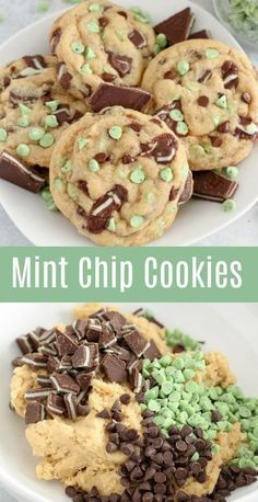 MINT CHOCOLATE CHIP COOKIES Big, soft cookies filled with Andes Mint Candies, Mint Chips and Chocolate Chips. Mint and chocolate in every delicious bite! No chill time; you can enjoy these Mint Chocolate Chip Cookies in 30 minutes! Comida Picnic, Menta Chocolate, Lindt Chocolate, Chocolate Crinkles, Chocolate Drizzle, Chocolate Recipes, Delicious Chocolate, Chocolate Snacks, Brownie Recipes