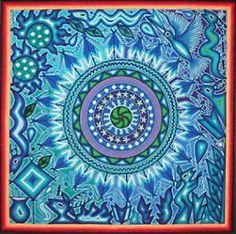 A Wonderful Huichol Yarn Painting in Blues