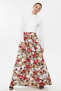 Remarkable Xela - White and Multi-Colored Set includes: Top in solid color, pointed flat collar, long sleeves, Skirt in floral pattern, A-Line silhouette  * Material: Crepe and Jersey * Origin: Designed in UAE