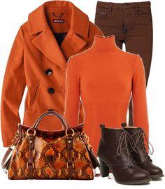 """Orange Pea Coat"" by denise-schmeltzer . I'm in my orange-tangerine- coral- peach period"