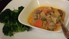 Day 6- dinner homemade panang pork tenderloin curry w/broccoli. Spicy!