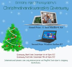 Win a MacBook Air Laptop and a Windows Surface tablet! Brittany Alies Photography's Christmahanakwanzika Giveaway!!