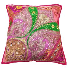 "Handmade 'Beaded~Patchwork~Embroidered Pink' Cushion Cover/Case - Backing is made from Cotton Polyester in plain Pink w' an envelope style opening (insert not included), patches are decorated w' Beads /Sequins/Bullions/Motif/Zari and Multicolored+Metallic threads are used in the embroidery work on the front of cover ~ Size 20""x20"" approx ~ eBay<3<3<3"
