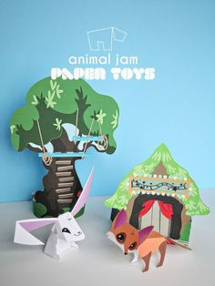 Animal Jam Sarapiea Forest - Paper Toy Printable DIY - Rabbit, Fox, and Treehouse paper crafts | Small for Big