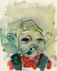 """12/16/15 - Hey It's That Other Guy.  8"""" x 10"""". Mixed media on watercolor paper. $50."""