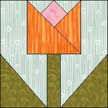 Block of Day for May 29, 2016 - Spring Tulip foundation piecing-The pattern may be downloaded until: Wednesday, June 8, 2016.
