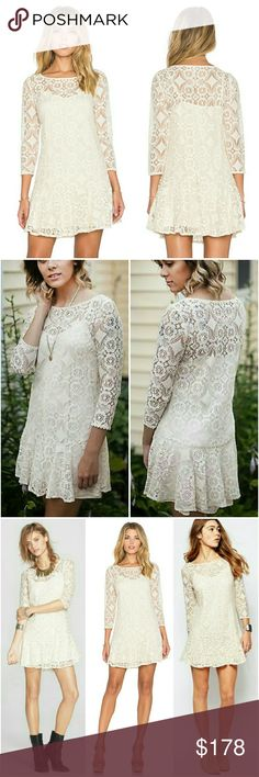 99✂Free People Cream Lace Dress ⏩This is the ultimate girl's next door special event outfit! It boasts a sexy, yet feminine feel with its eye-catching geometric floral design & fit-and-flare silhouette ⏩Boat neck, 3/4 sleeves, sheer lace ⏩Gorgeous flounced hemline  ⏩Detachable slip lining included ⏩Effortlesspullover style forany festive event ⏩Wear it with boots & bohemian necklaces for breezy autumn spirit! Free People Dresses Mini