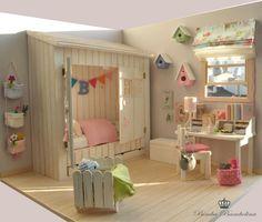OOAK Diorama Blythe Dolls 034 Shabby Houses 034 by Bimba Bambolina Miniature Rooms, Miniature Houses, Miniature Furniture, Dollhouse Furniture, Barbie Bedroom, Mini Doll House, Dollhouse Toys, Barbie Furniture, Blythe Dolls