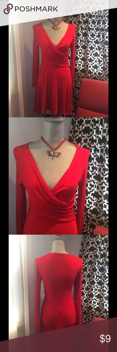 Lady in red dress Jersey material, super comfortable, used very few times. Charlotte Russe Dresses Long Sleeve
