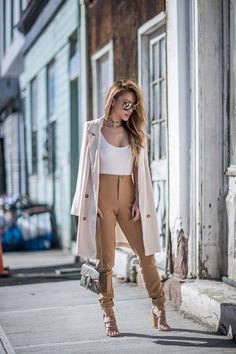 Pieces that will make you look expensive - White Blazer White Tee With Camel Trousers // NotJessFashion.com // Nude Blazer, Brown Trousers, New York Fashion Blogger, Asian Blogger, chic blogger outfit, long blazer look, cute spring outfit, neutral outfit