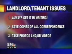 Landlord Tenant Issues:- Legal discussion and answers about common landlord/tenant issues