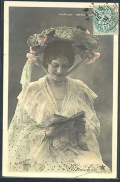 PG140-ARTIST-STAGE-STAR-Marion-WINCHESTER-Large-HAT-Tinted-PHOTO-pc-STEBBING