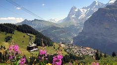 Murren,switzerland - Up the mountain from Lauterbrunned. Lovel place for mountain hikes! Train stops here and then took a gondola, cogwheel train, and another gondola to reach the James Bond rotating restaurant at the top.