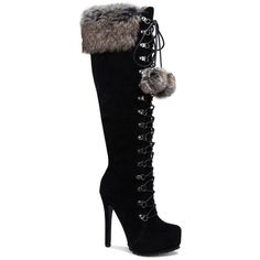 ShoeDazzle Boots - Knee Length Priscilla Faux-Fur Pom Pom Boot Womens... ❤ liked on Polyvore featuring shoes, boots, black, heels, boots - knee length, cuff boots, knee-length boots, faux fur cuff boots, black boots and kohl boots