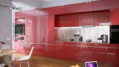 Red High Gloss Kitchen Red Kitchen Cabinet Doors Red Gloss Kitchen ...
