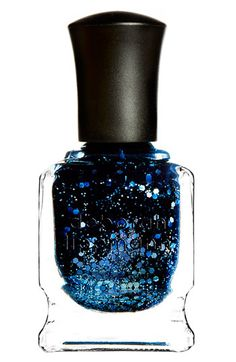"Deborah Lippmann Glitter Nail Color in ""Lady Sings The Blues"" Such a beautiful deep hue of sapphire."
