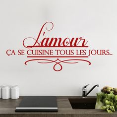 Stickers - Sweyn - Stickers amour en cuisine - 10 € - 50x20 cm