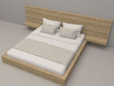 Solid Pinewood Bed with two shelfs and nature PU finish.