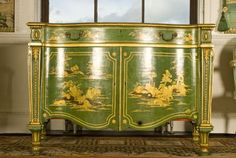 A commode from the set of japanned furniture designed by Thomas Chippendale to accompany the Chinese Wallpaper. This piece is seem here after restoration © Harewood House Trust