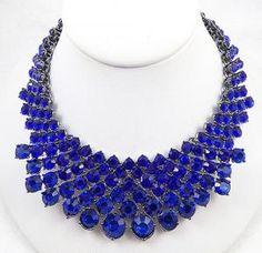 Vibrant Cobalt Blue Rhinestone Bib Necklace - Garden Party Collection Vintage Jewelry