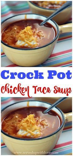 Crock Pot Chicken Taco Soup recipe from Served Up With Love will have the entire family excited for dinner.
