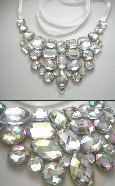 #Crystal #AB #statement #necklace #etsy #bridal $29.99