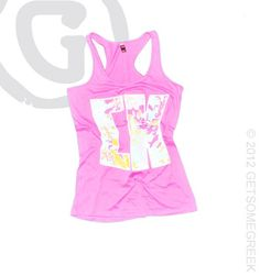 Sigma Kappa custom sorority chapter order on pink racer back floral tank tops!