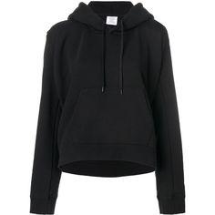 Vetements Back Printed Hoodie (7 435 SEK) ❤ liked on Polyvore featuring tops, hoodies, black, hooded sweatshirt, vetements hoodie, hoodie top, hooded pullover and sweatshirt hoodies