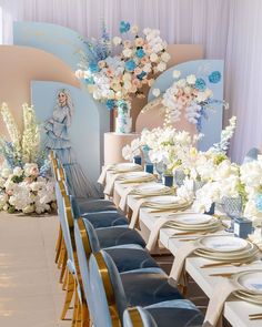 Such an elegant baby shower setup 💙 by 💙 Blue Wedding, Wedding Table, Floral Wedding, Dream Wedding, Deco Baby Shower, Bridal Shower, Balloon Decorations, Wedding Decorations, Elegant Baby Shower