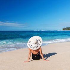 Ephemera One Piece Swimsuit / Eugenia Kim 'Do Not Distrub Hat'