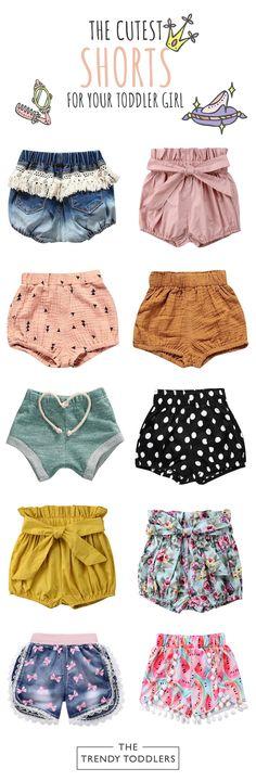 Toddler Girls' Shorts and Skirts Toddler Girl Shorts, Toddler Girl Outfits, Toddler Fashion, Kids Fashion, Toddler Girls, Sewing Kids Clothes, Baby Kids Clothes, Baby Sewing, Baby Outfits