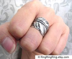 Angel Feather ring in dark antiqued silver ring adjustable